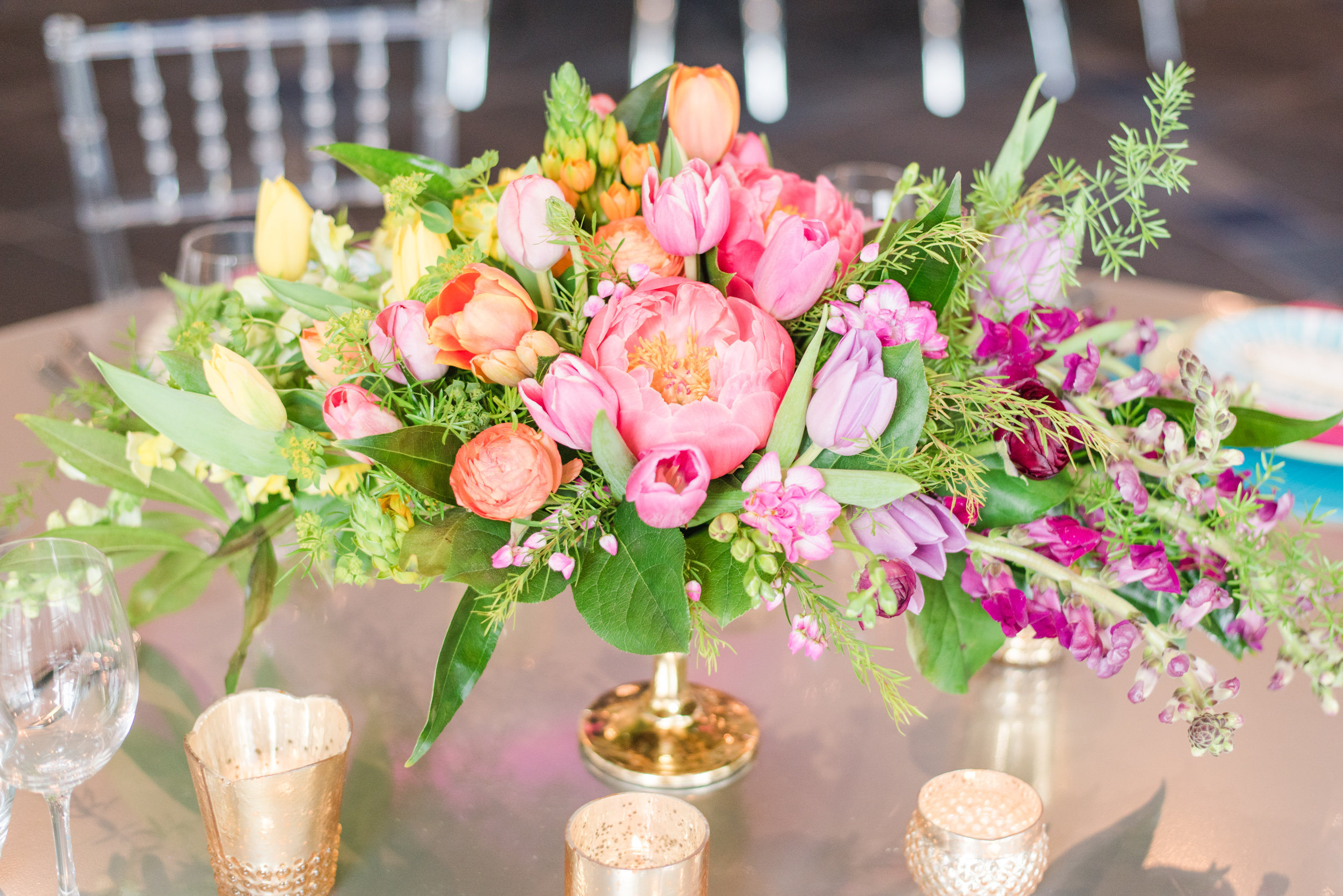 Ombre bright colored reception centerpiece, flowers,  Jessica Wonders Events, Minneapolis, MN