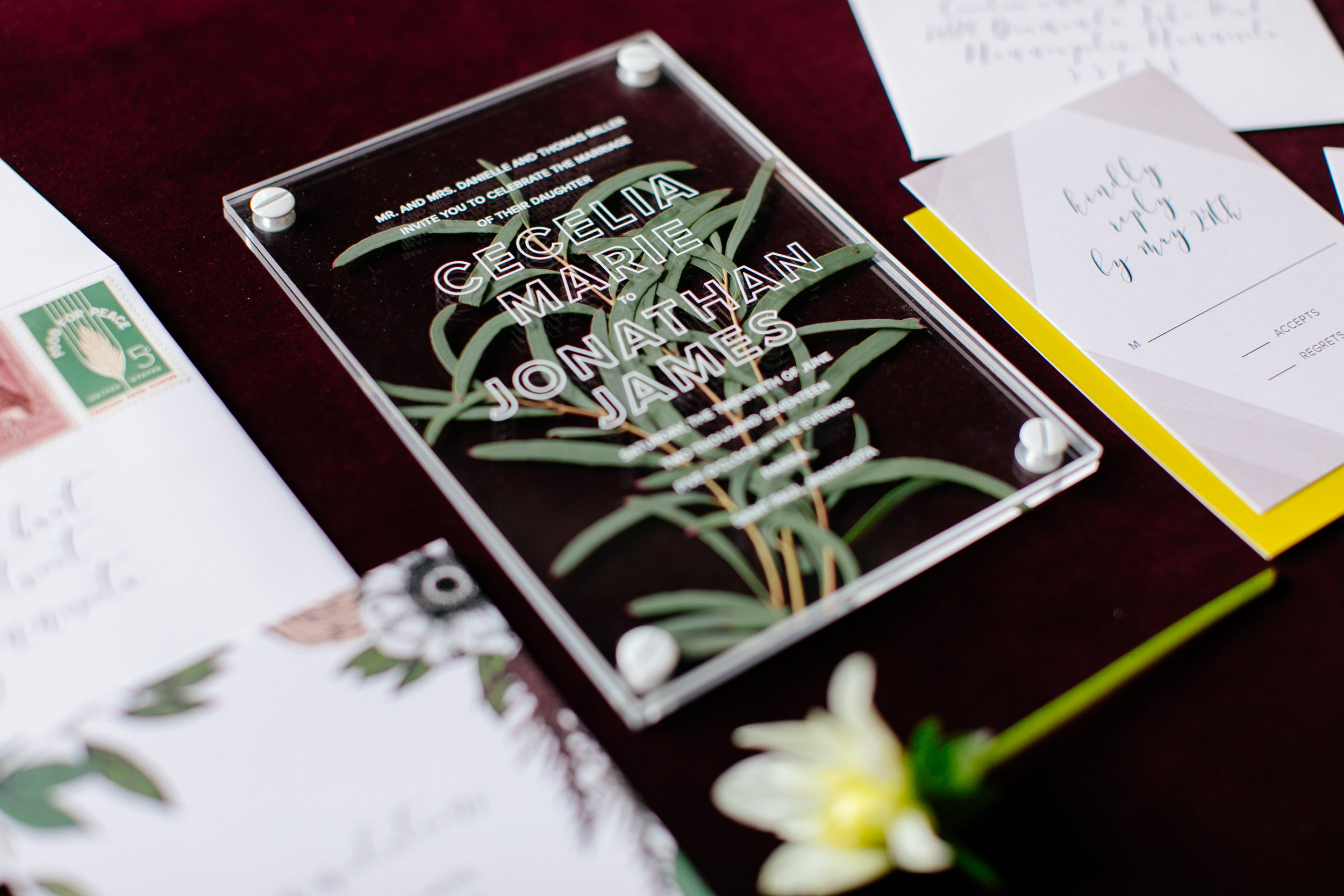 Acrylic and greenery wedding invitation  Jessica Wonders Events, Minneapolis, MN