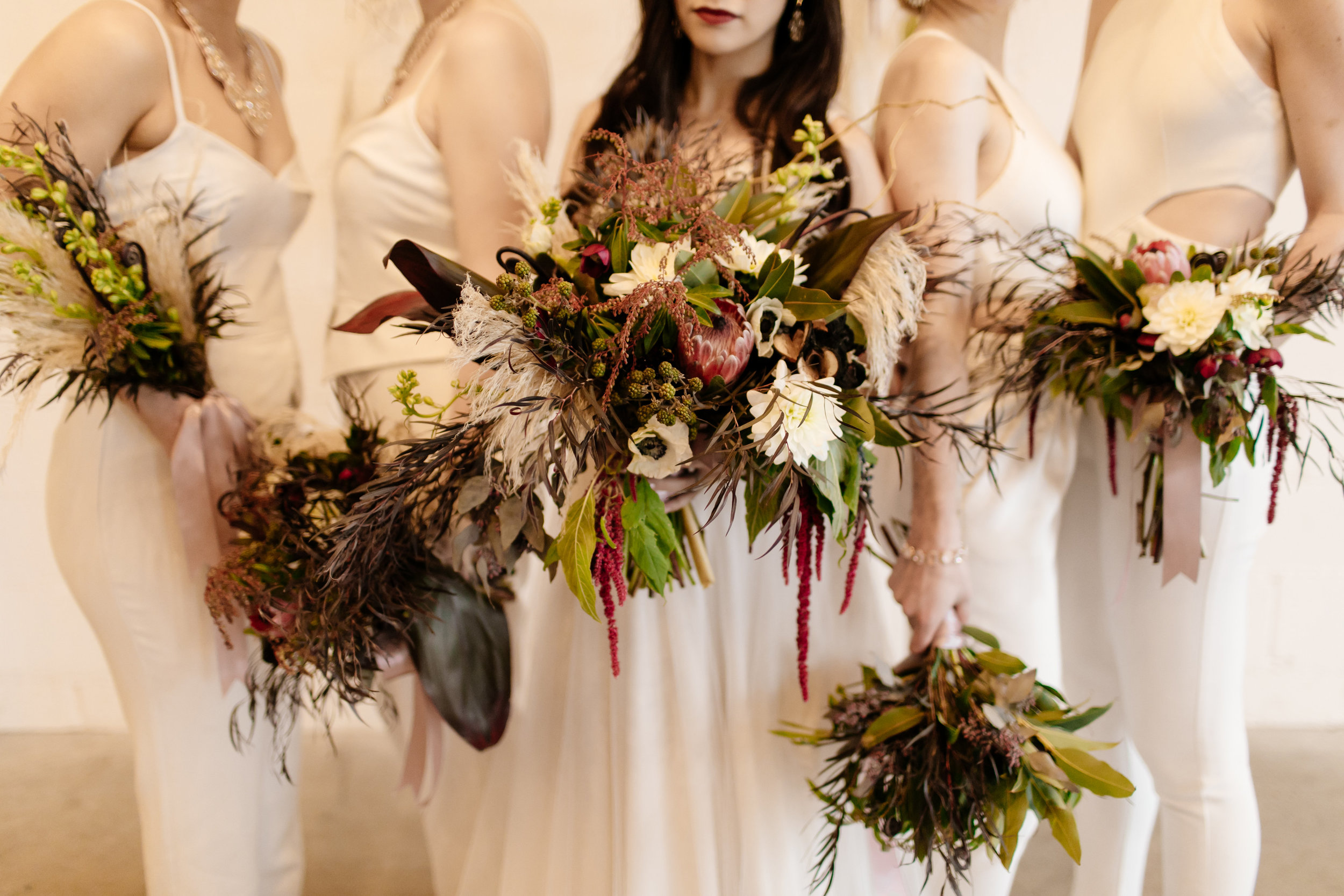 Dark and light, red, marsala, burgundy bridal and bridesmaids bouquets  Jessica Wonders Events, Minneapolis, MN