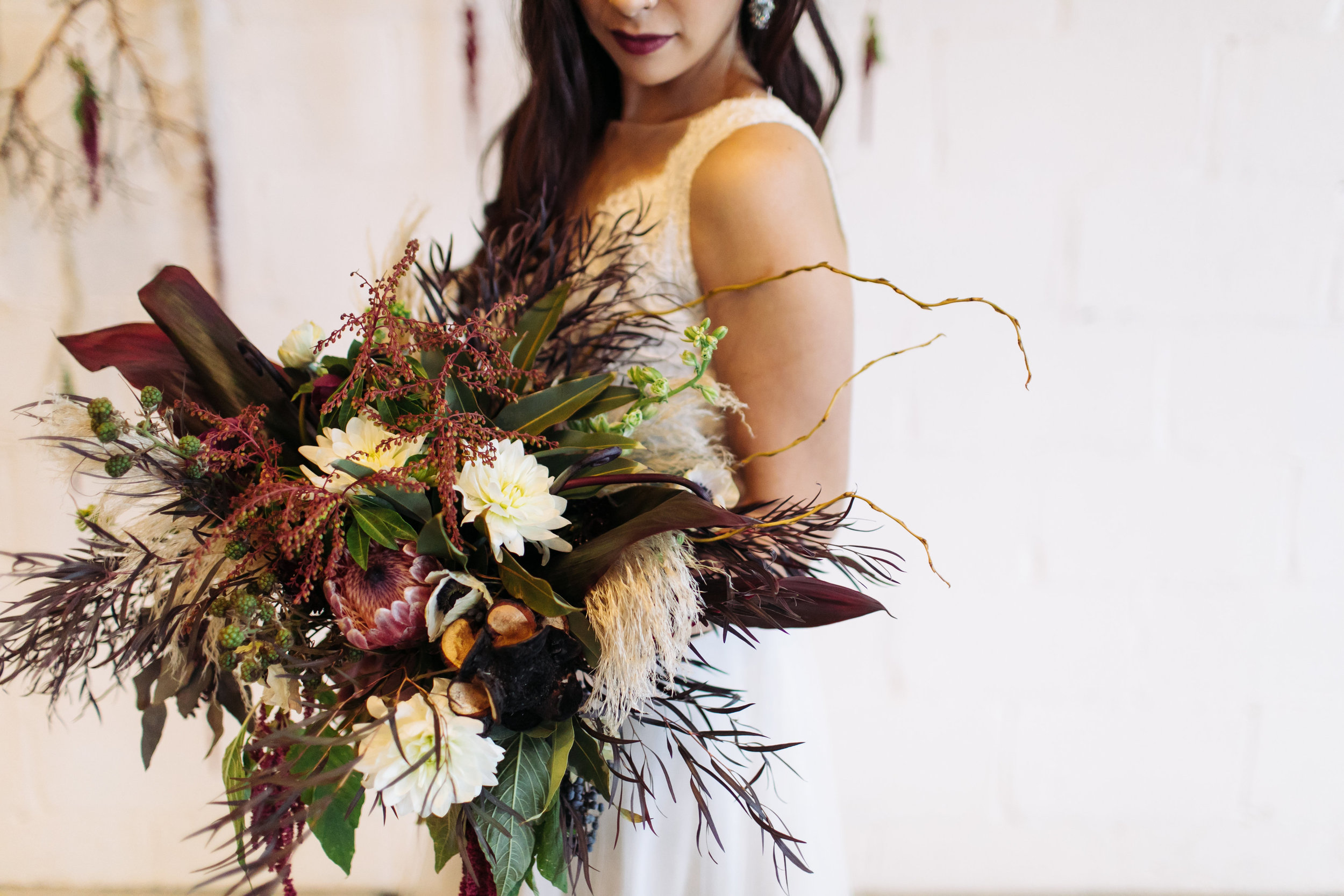 Large, dark and light, red, marsala, greenery bridal bouquet,