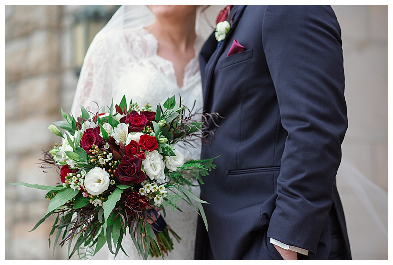 Red, burgundy, marsala, ivory and greenery bridal bouquet,  Jessica Wonders Events, Minneapolis, MN