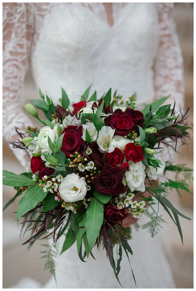 Red, green, and ivory bridal bouquet  Jessica Wonders Events, Minneapolis, MN