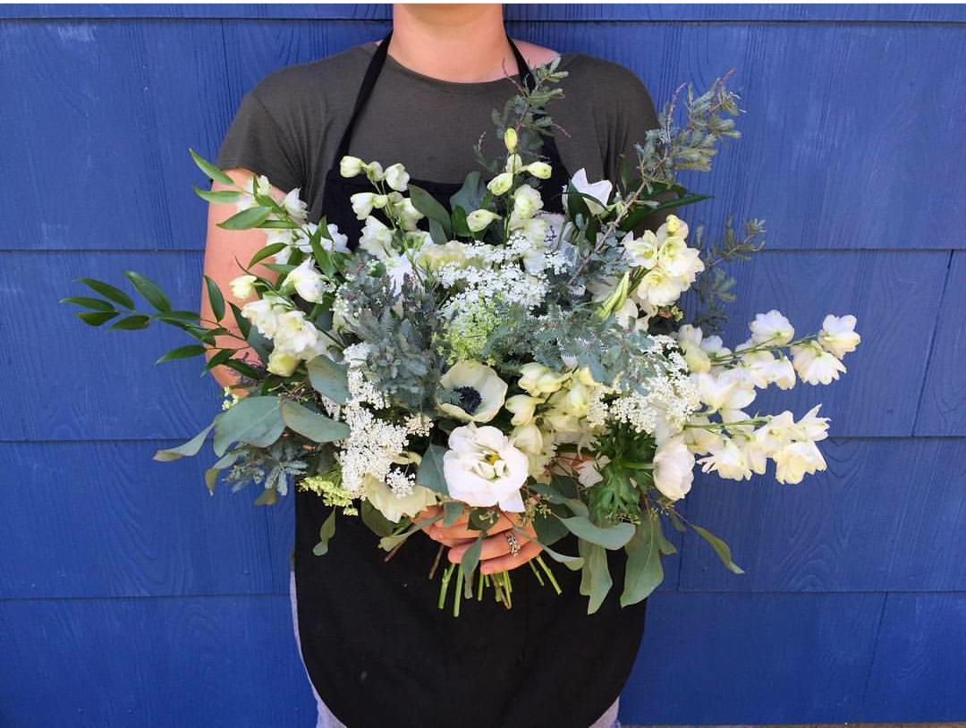 White, ivory, blue bridal bouquet  Jessica Wonders Events, Minneapolis, MN