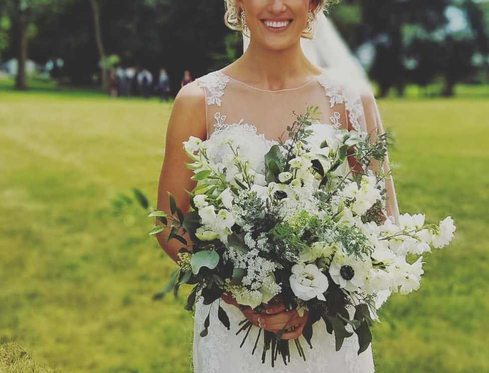 Ivory, white and greenery garden, whimsicle bridal bouquet  Jessica Wonders Events, Minneapolis, MN