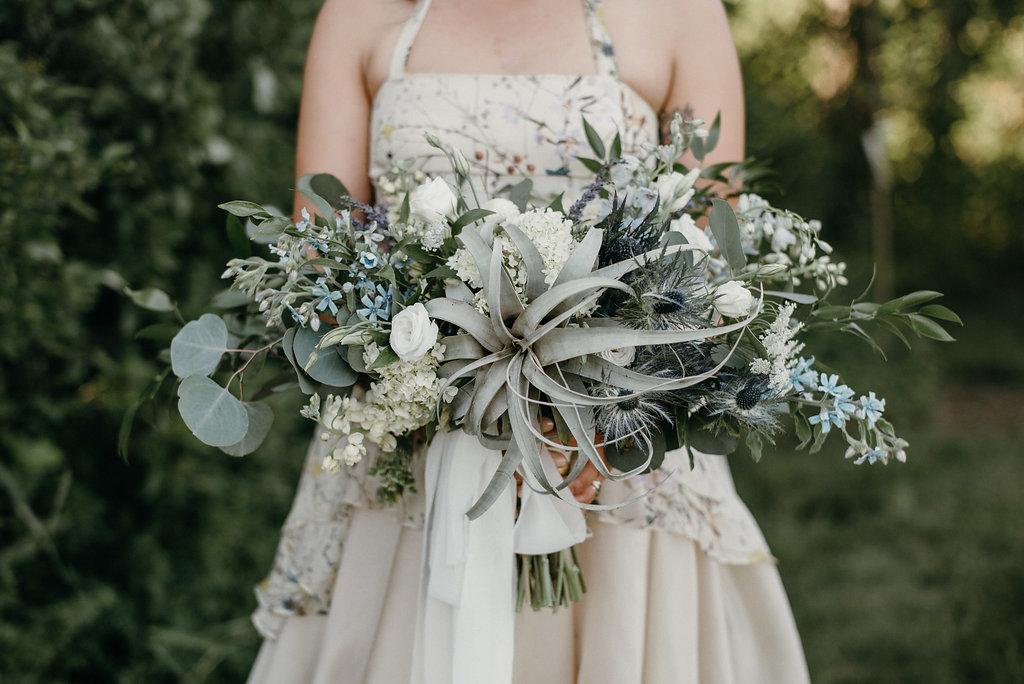Blue, yellow, white, air plant, succulent bridal bouquet,  Jessica Wonders Events, Minneapolis, MN
