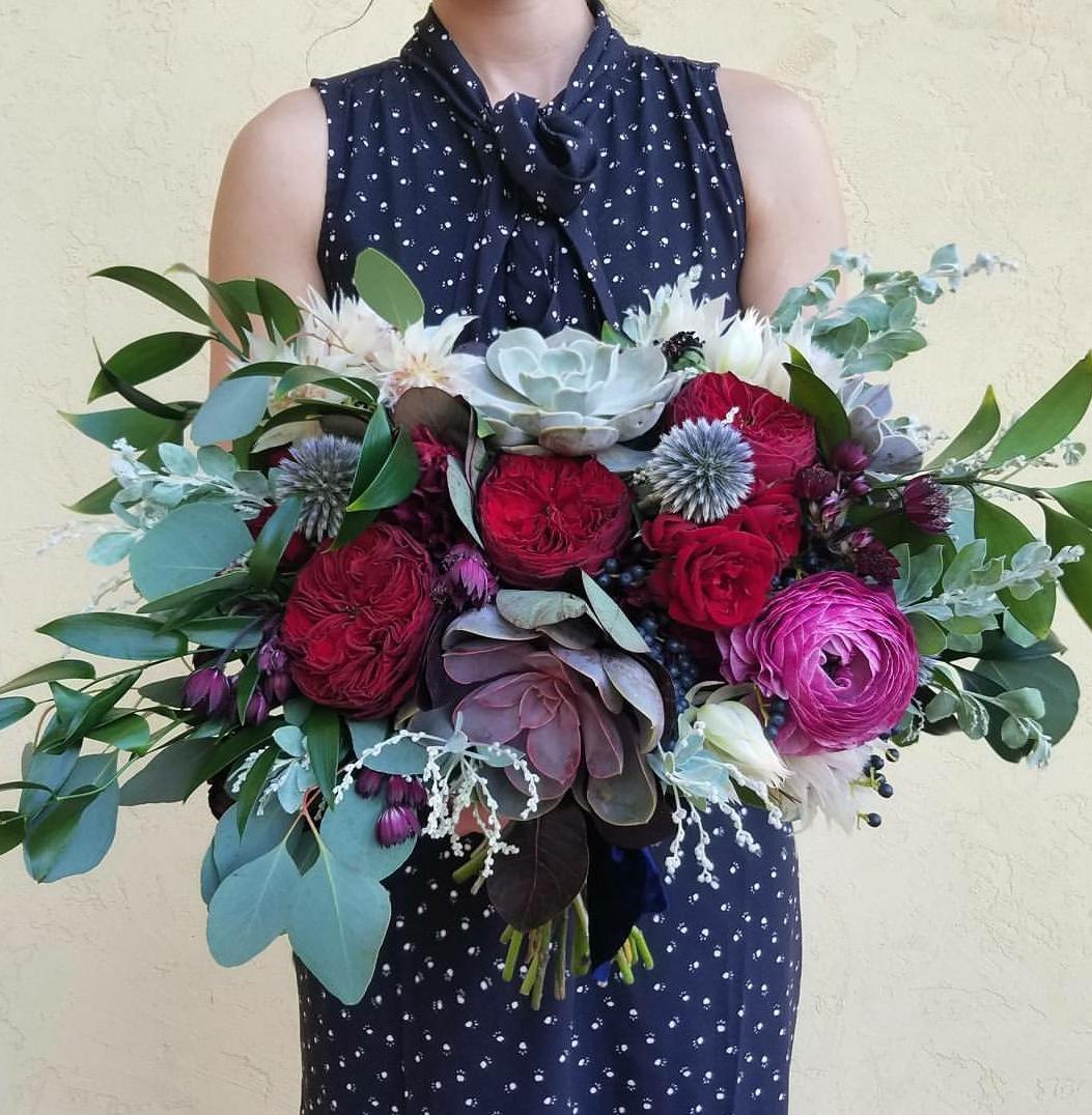 Red, burgundy, fuschia, succulents, bridal bouquet, Jessica Wonders Events, Minneapolis, MN