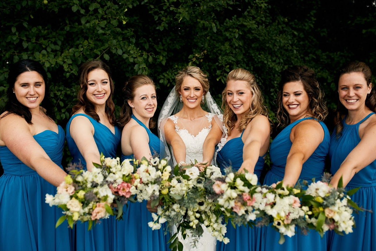 Blue bridesmaids dresses, white, ivory, and peach bridesmaids bouquets,  Jessica Wonders Events, Minneapolis, MN
