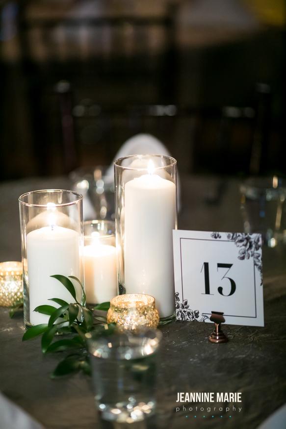 Romantic candlelight, greenery reception centerpieces,  Jessica Wonders Events, Minneapolis, MN