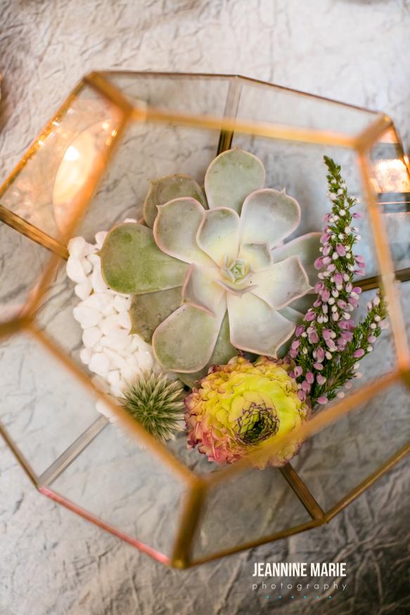 Succulent geometric reception centerpiece  Jessica Wonders Events, Minneapolis, MN