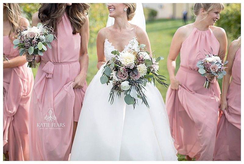 Pink bridesmaids dresses, white and pink wedding flowers, Winery wedding, Jessica Wonders Events