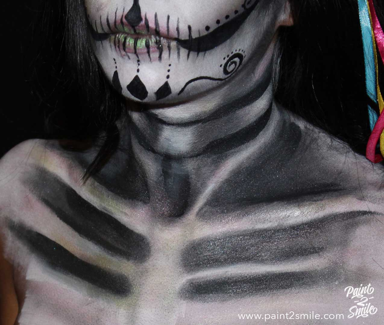 detail of skull face painting