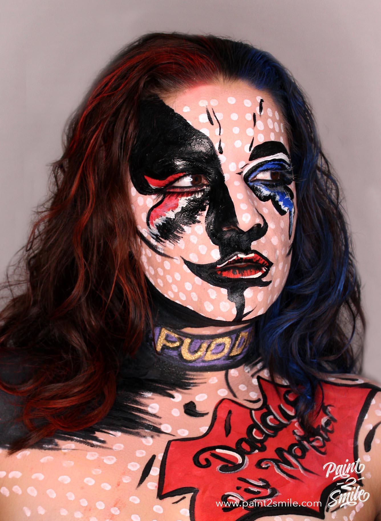 harley quinn adult face paint