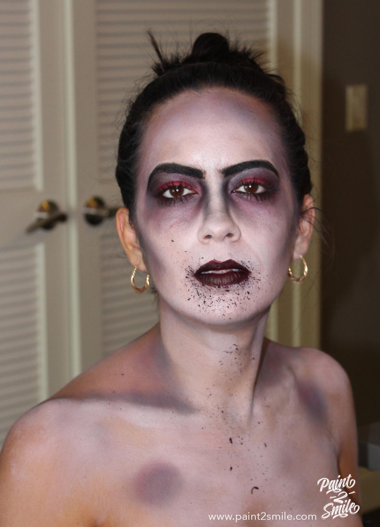 process of makeup for dead bride
