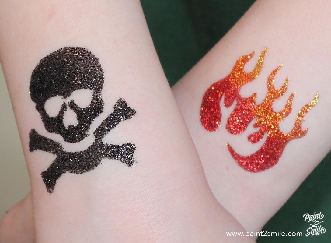 skull and fire flame glitter tattoo
