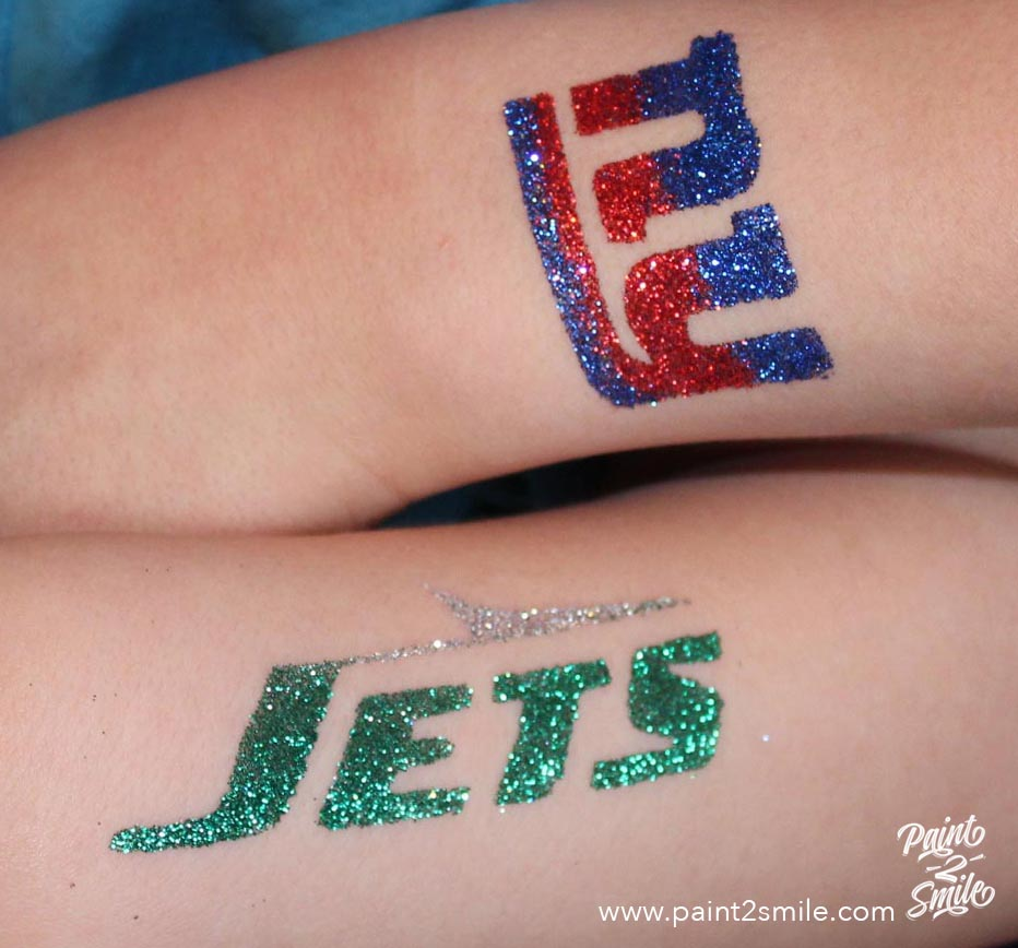 logo of jets and giants glitter tattoo