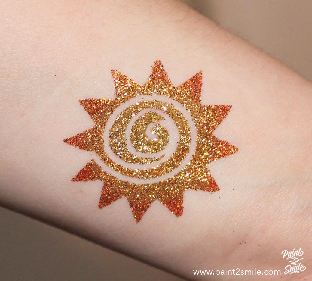 sun glitter tattoo