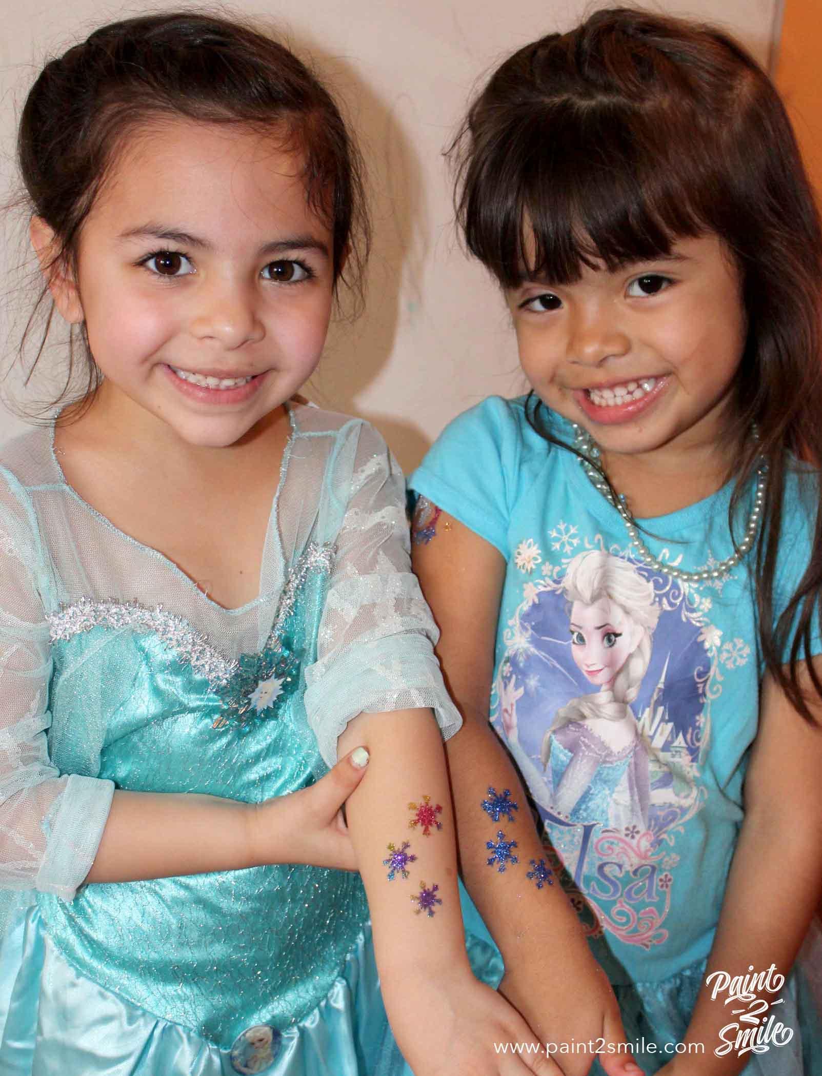 frozen theme glitter tattoos