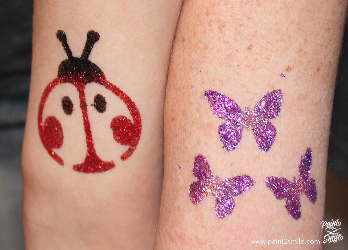 glitter tattoos ladybug and butterflies