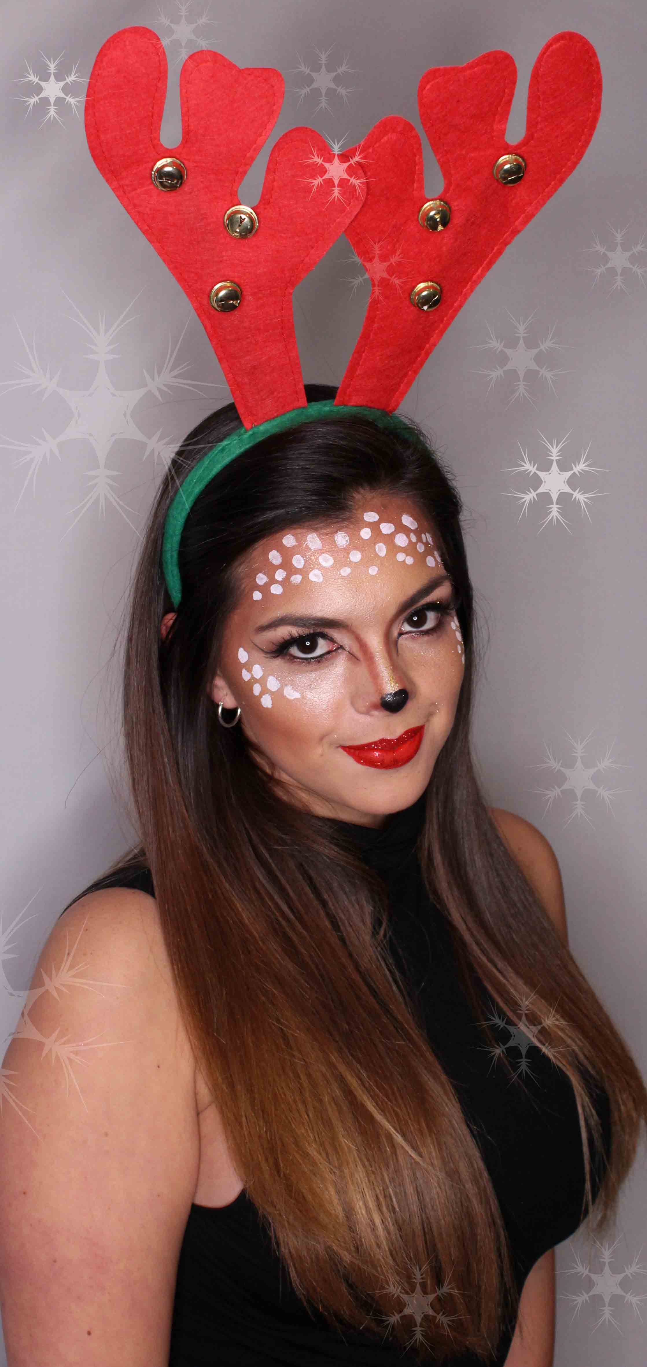 adult reindeer face painting with antlers