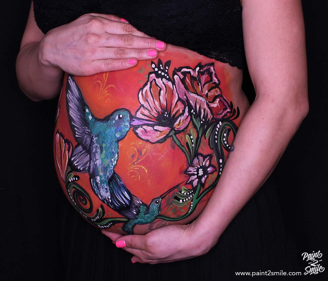 humming bird belly painting