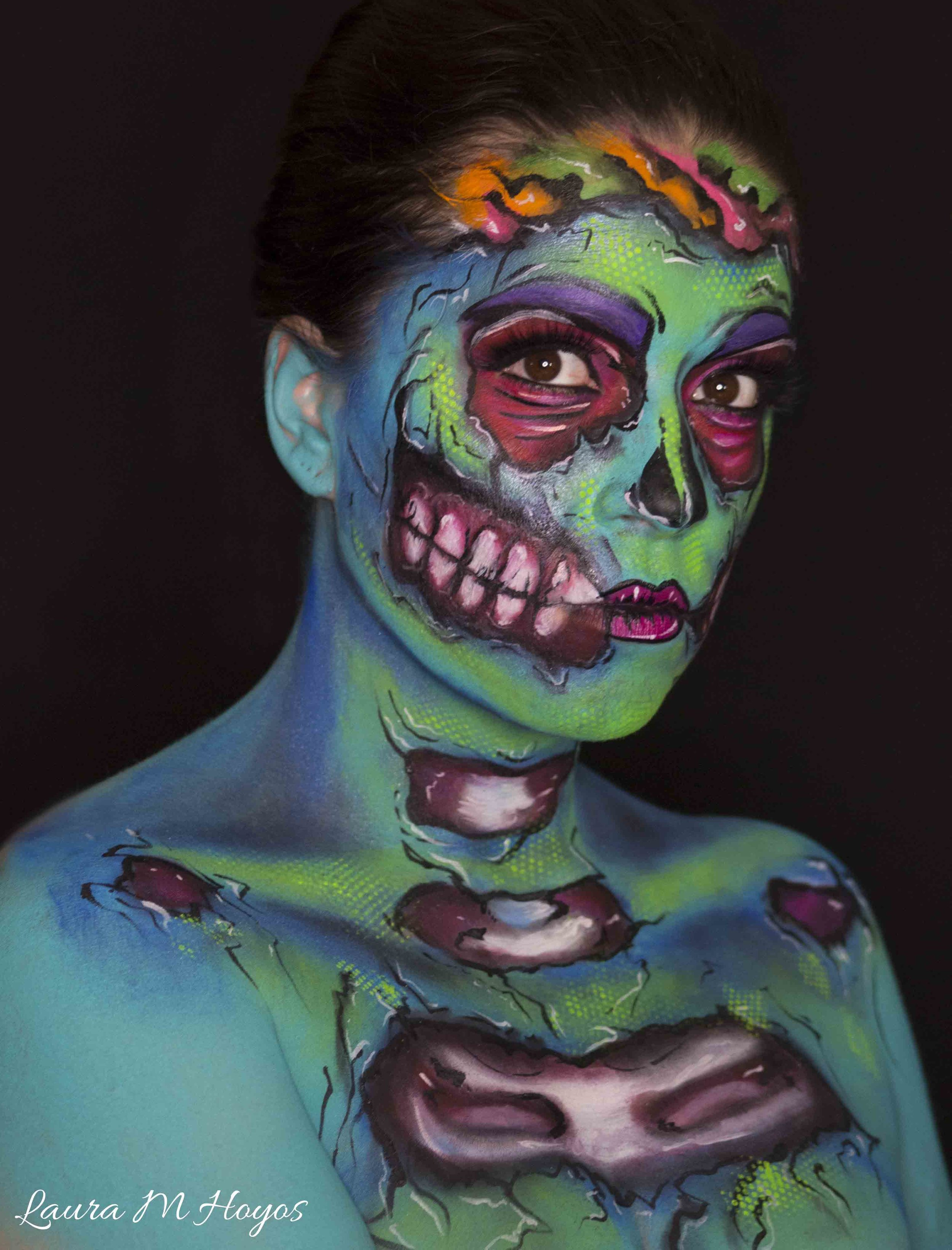 adult zombie face painting right side