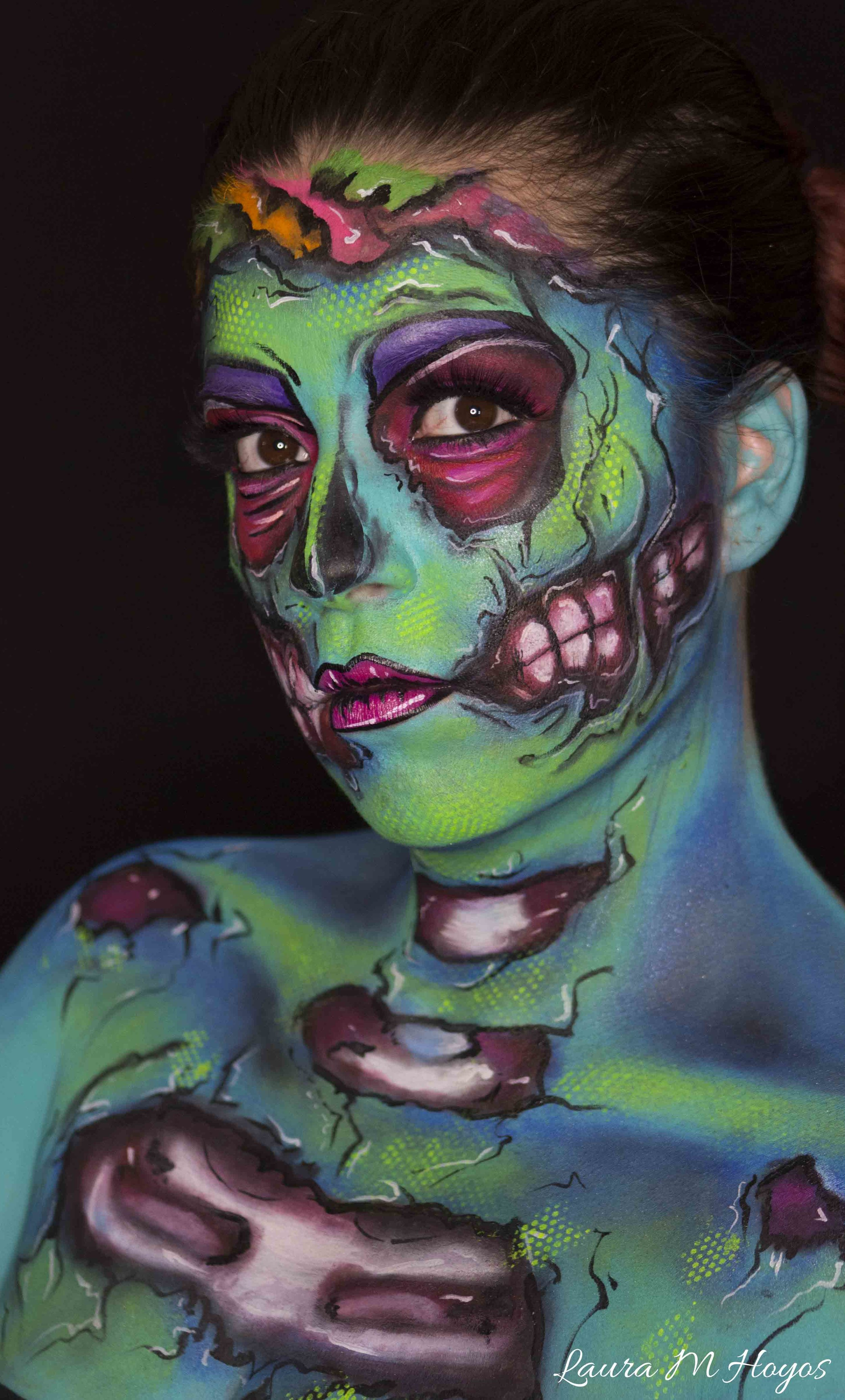 zombie face painting left