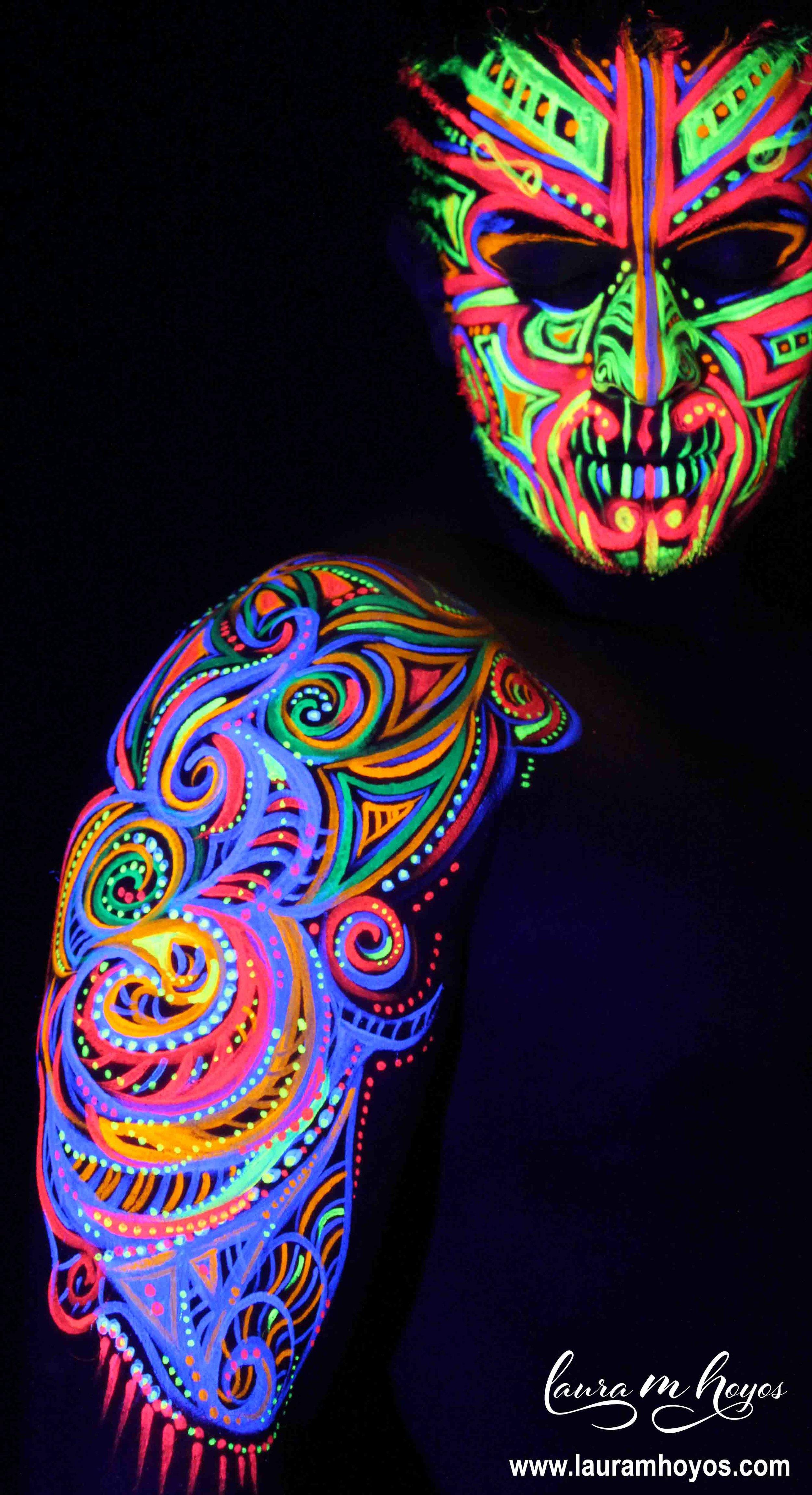 uv blacklight tribal body painting