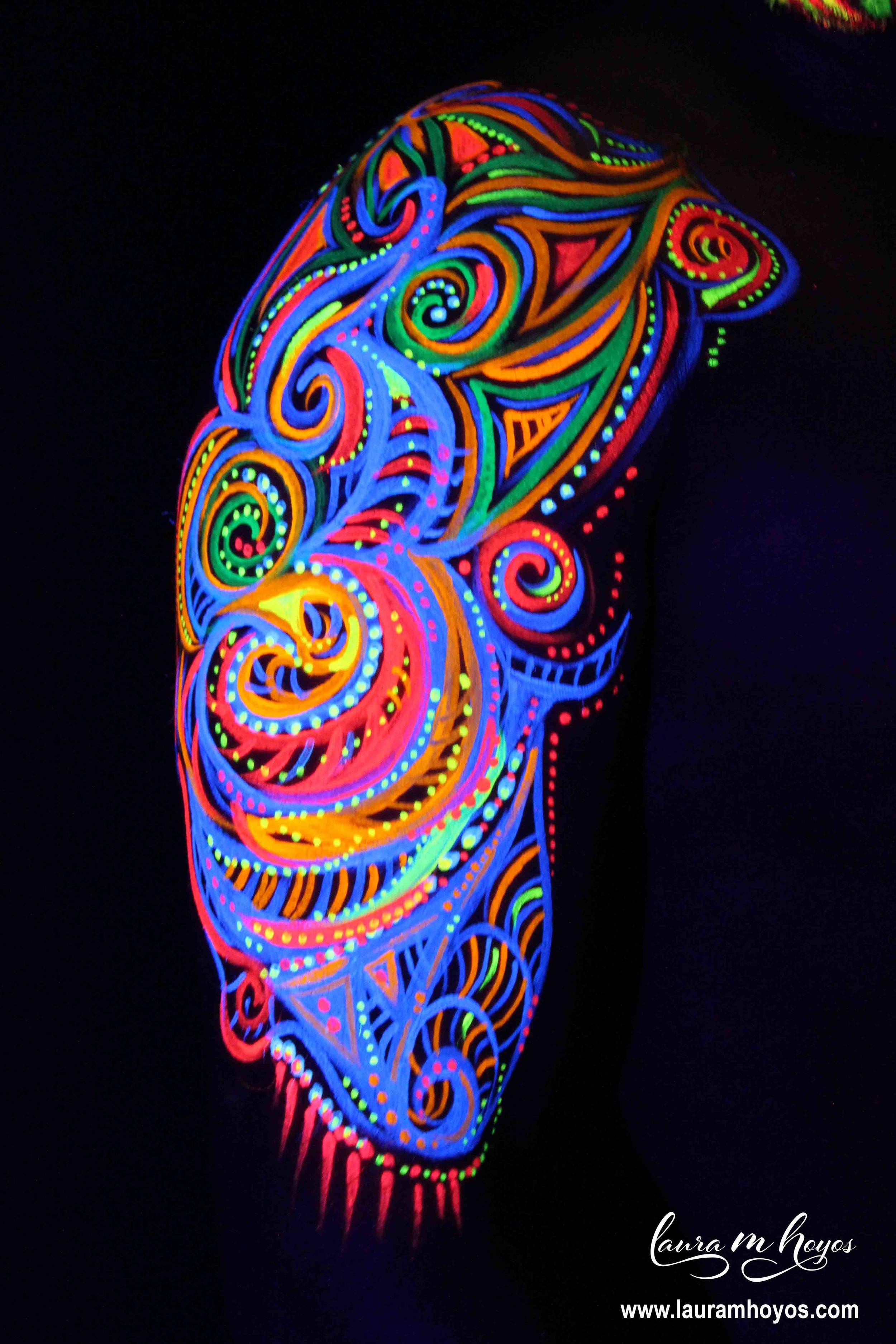uv blacklight tribal arm body painting
