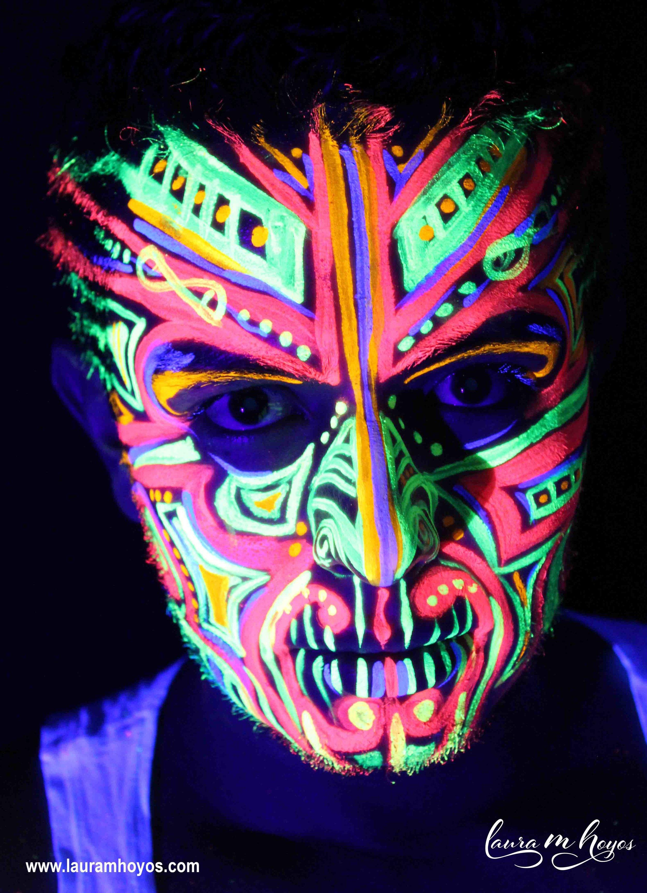 uv blacklight tribal face painting