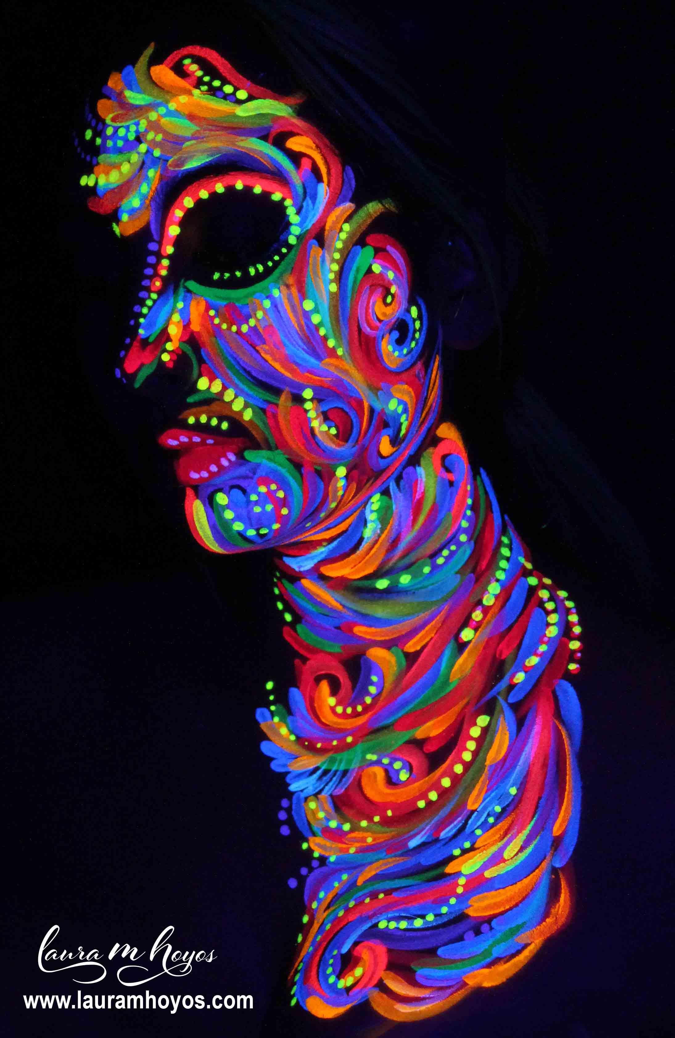 uv blacklight neon face painting
