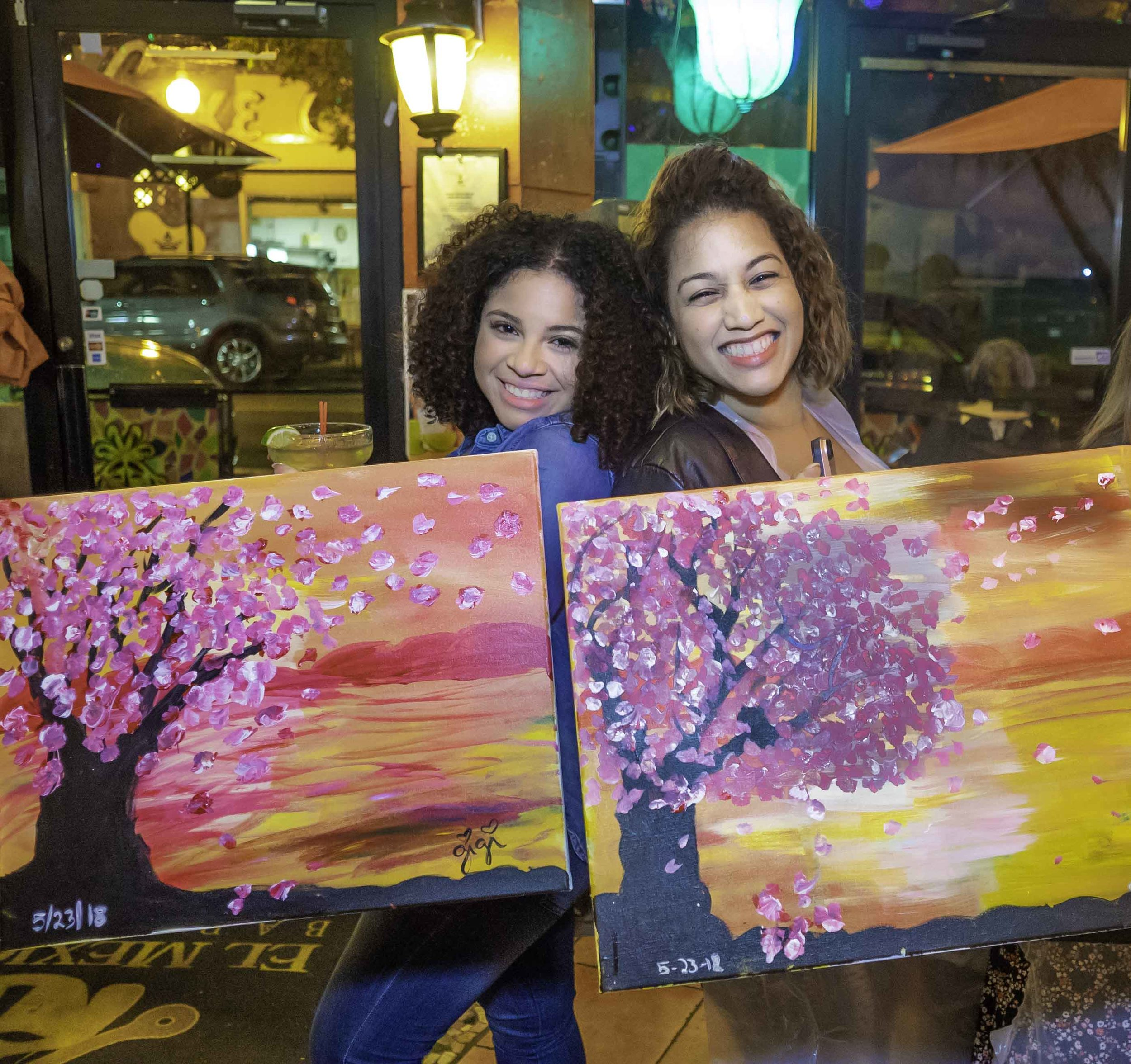 Two beautiful ladies just having fun. We are available for private and corporate paint night events. We can come to your home, office, restaurant or a venue of your choice.