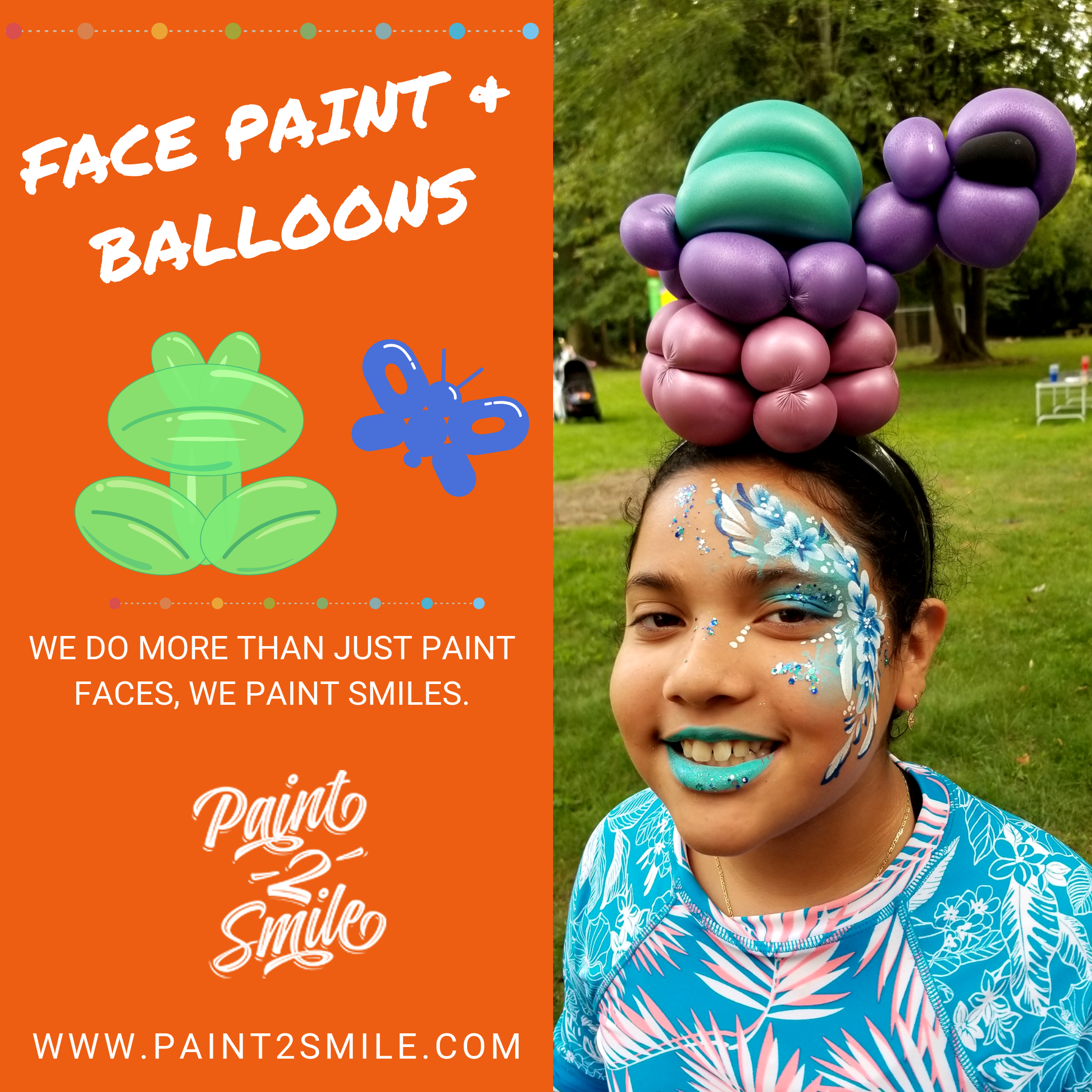 face painting of flowers and  turtle balloon headband on girl
