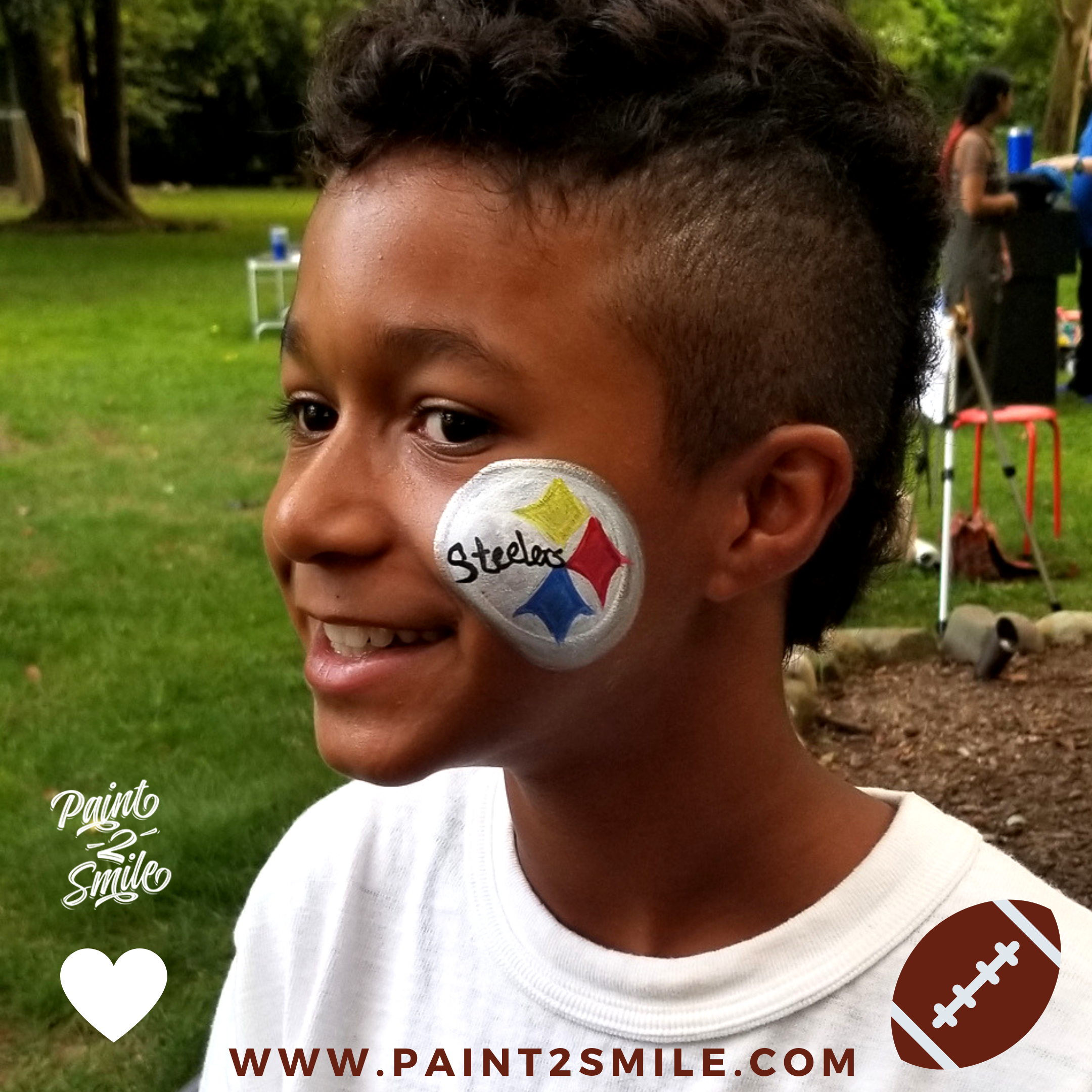 steelers face paint logo on little boy