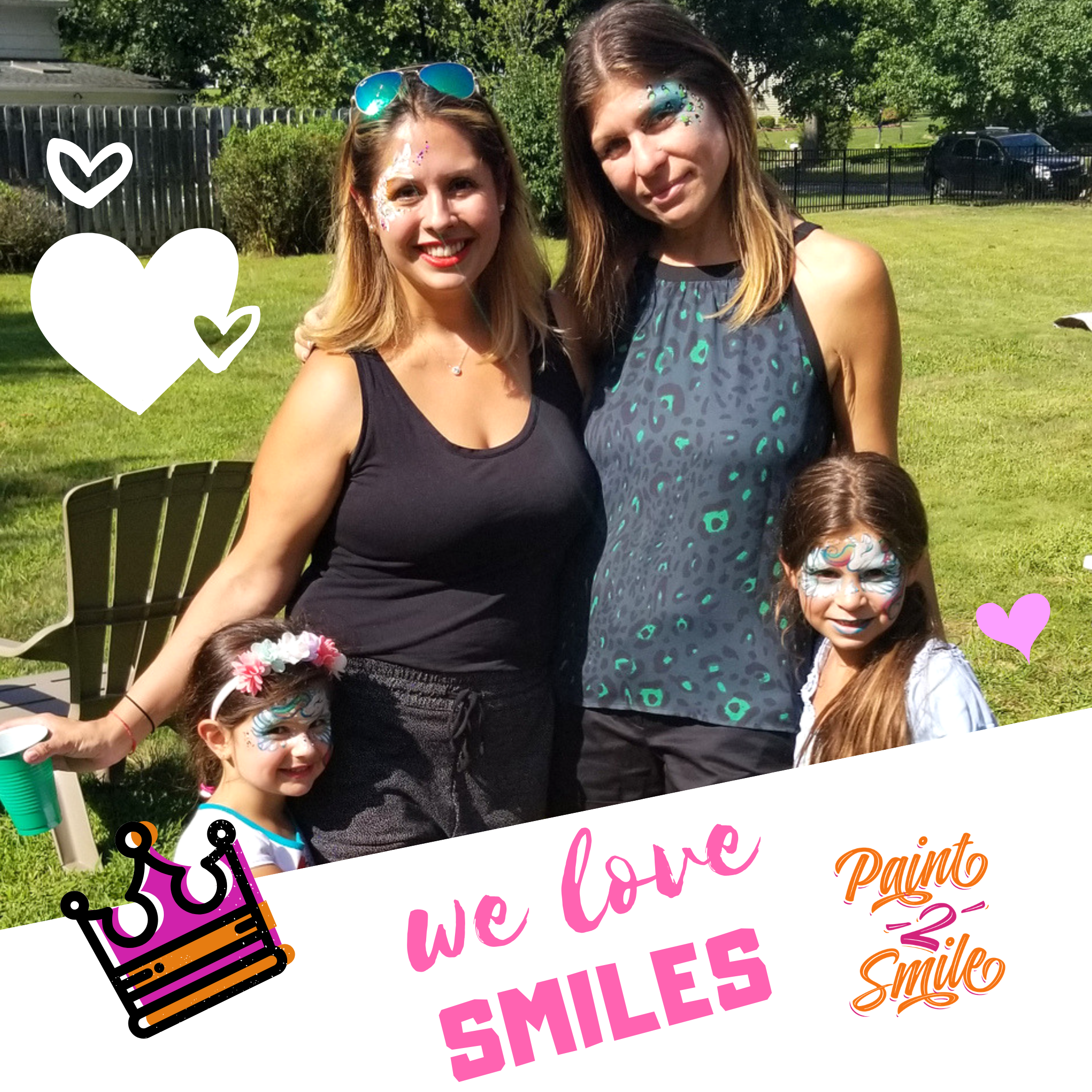 moms and daughters face painted