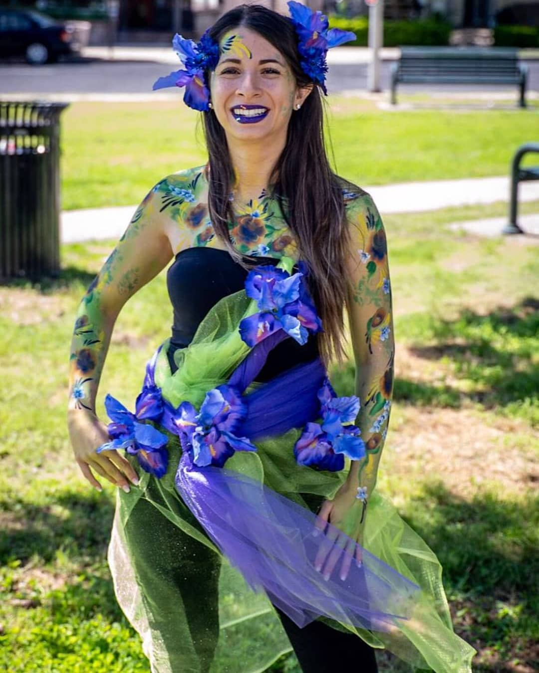 Woman body paint as a fairy