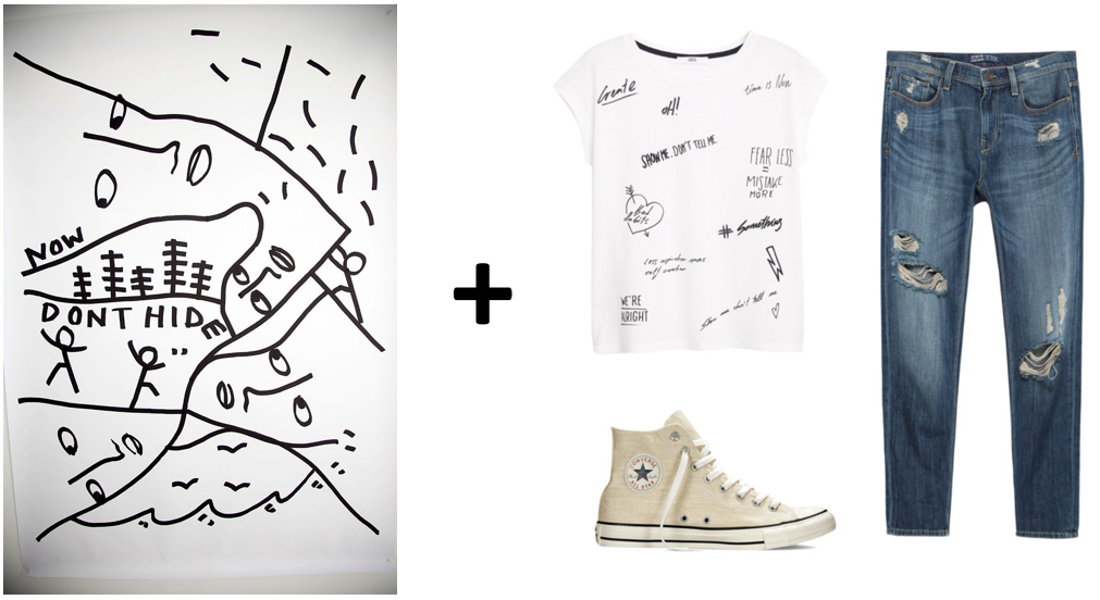 (Art via  Vogue.com;  Graphic tee:  MANGO , Denim:  ZARA , High-tops:  Converse  )