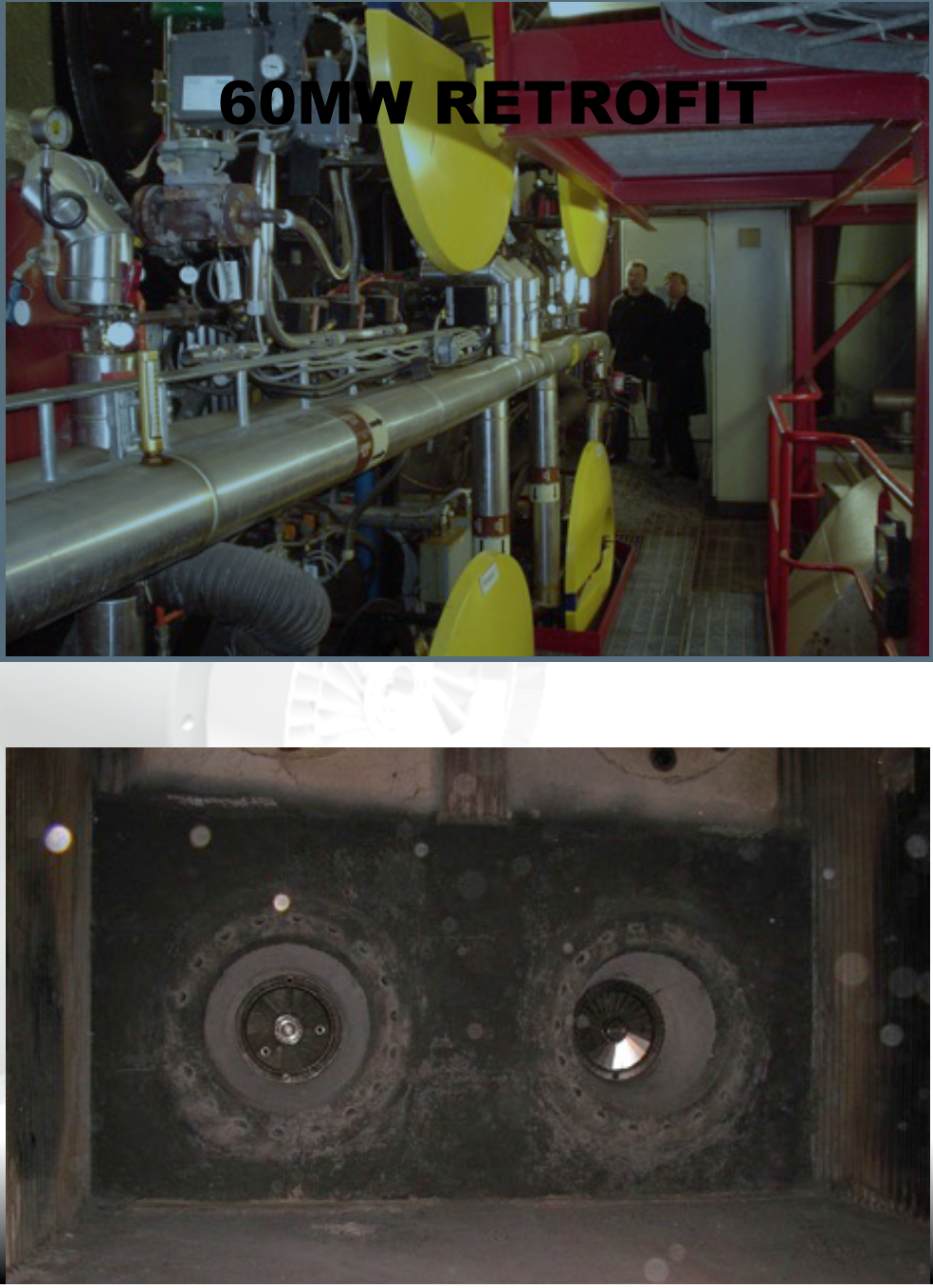 Two of the four water tube steam boiler burners were replaced by 2 x 25mw wood dust units