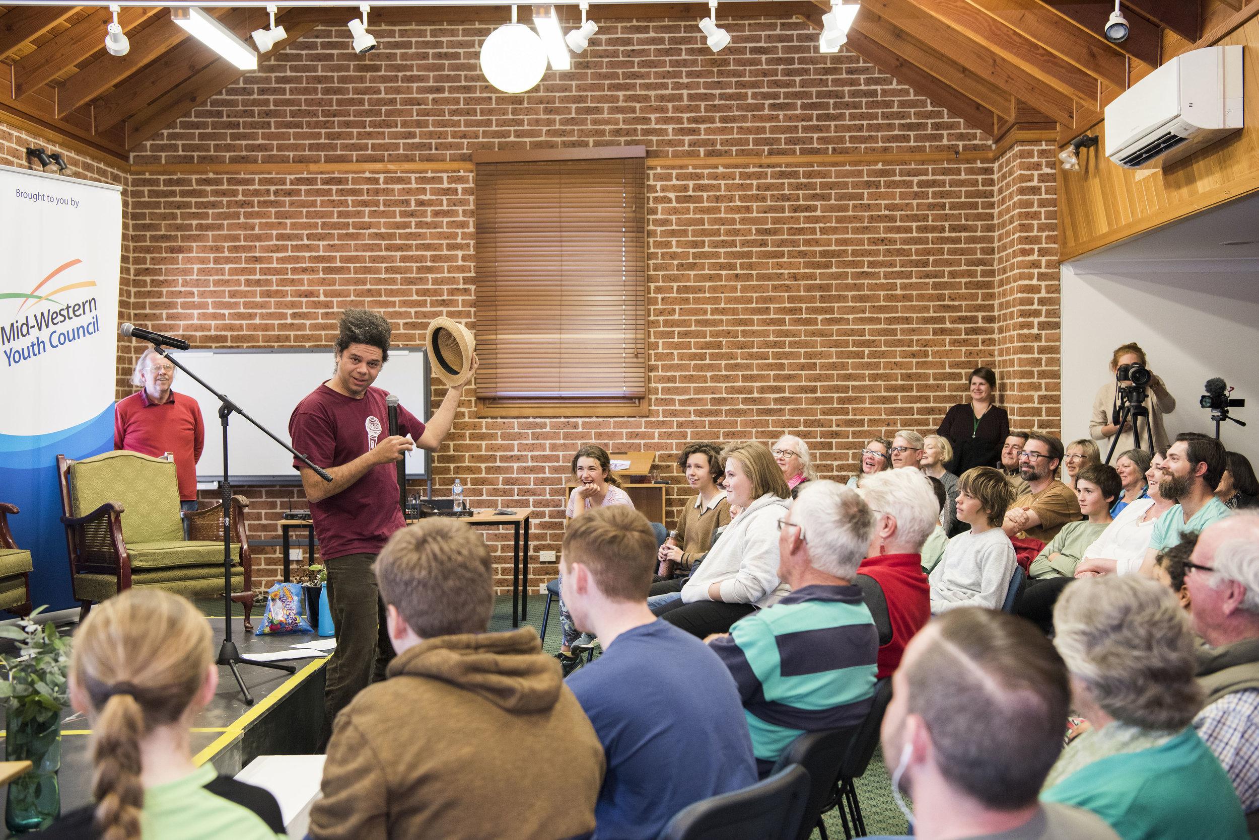 Australian Poetry Slam Mudgee heat, hosted by Miles Merrill