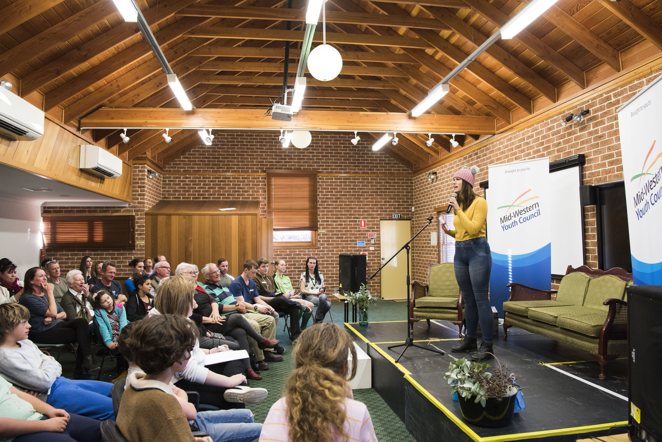 Tyrolin competing at the Australian Poetry Slam Mudgee heat