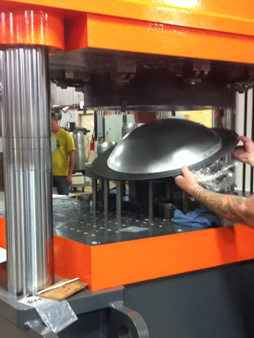 Our proprietary tool at work with our local stamping company.