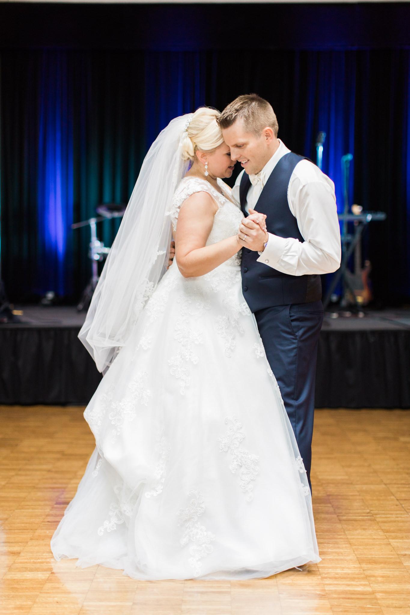bride and groom first dance at Bellarmine University wedding in Louisville ky