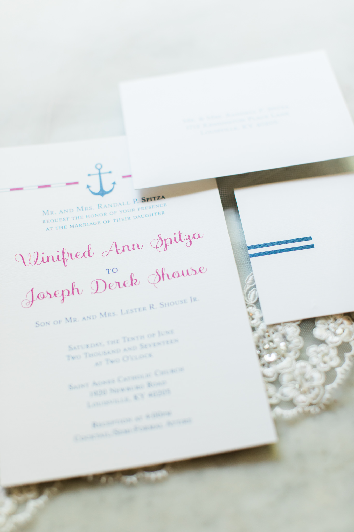 pink and navy anchor wedding invitations for louisville ky wedding