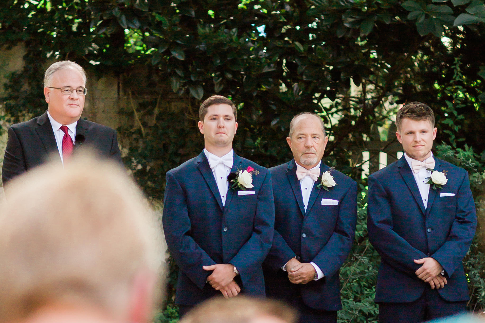 Jeff focusing in on the groom during his first time seeing his bride that day
