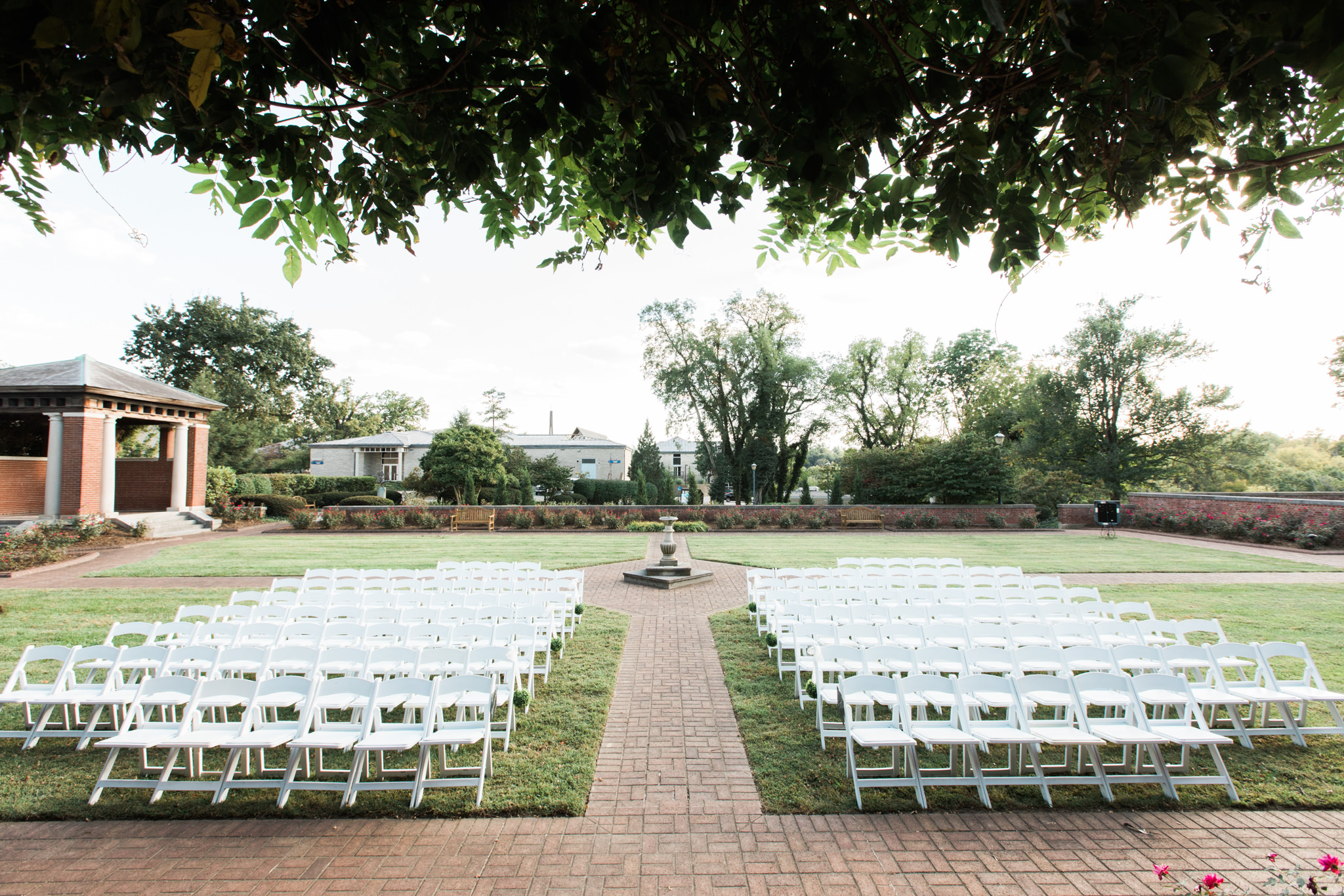 Garden Court Louisville Ky Wedding chair set up and ceremony site