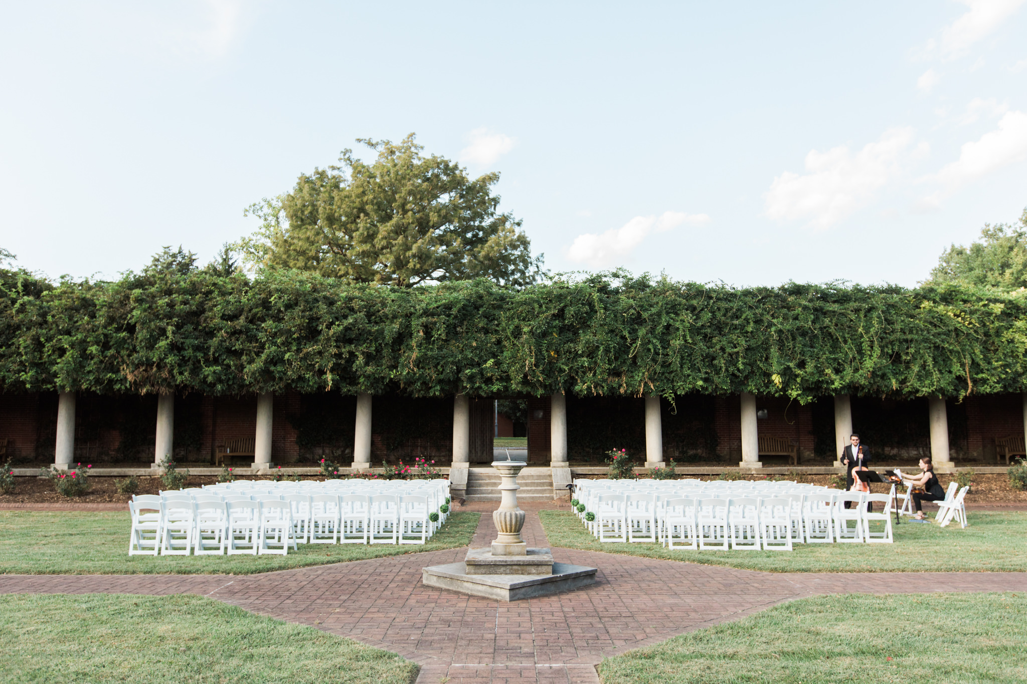 Garden Court Wedding chair set up and ceremony site