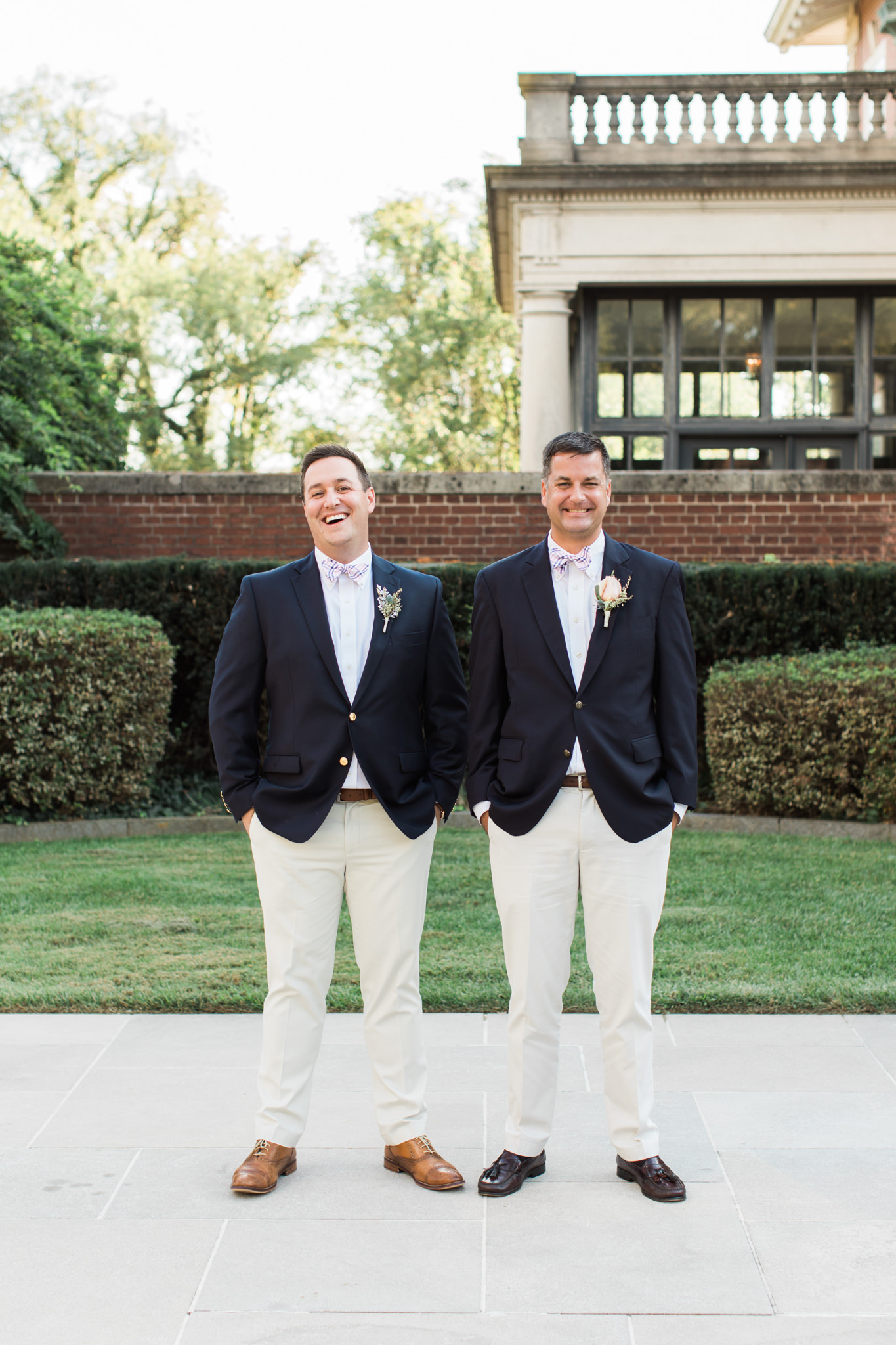 groom and groomsman at Garden Court Louisville Kentucky Wedding
