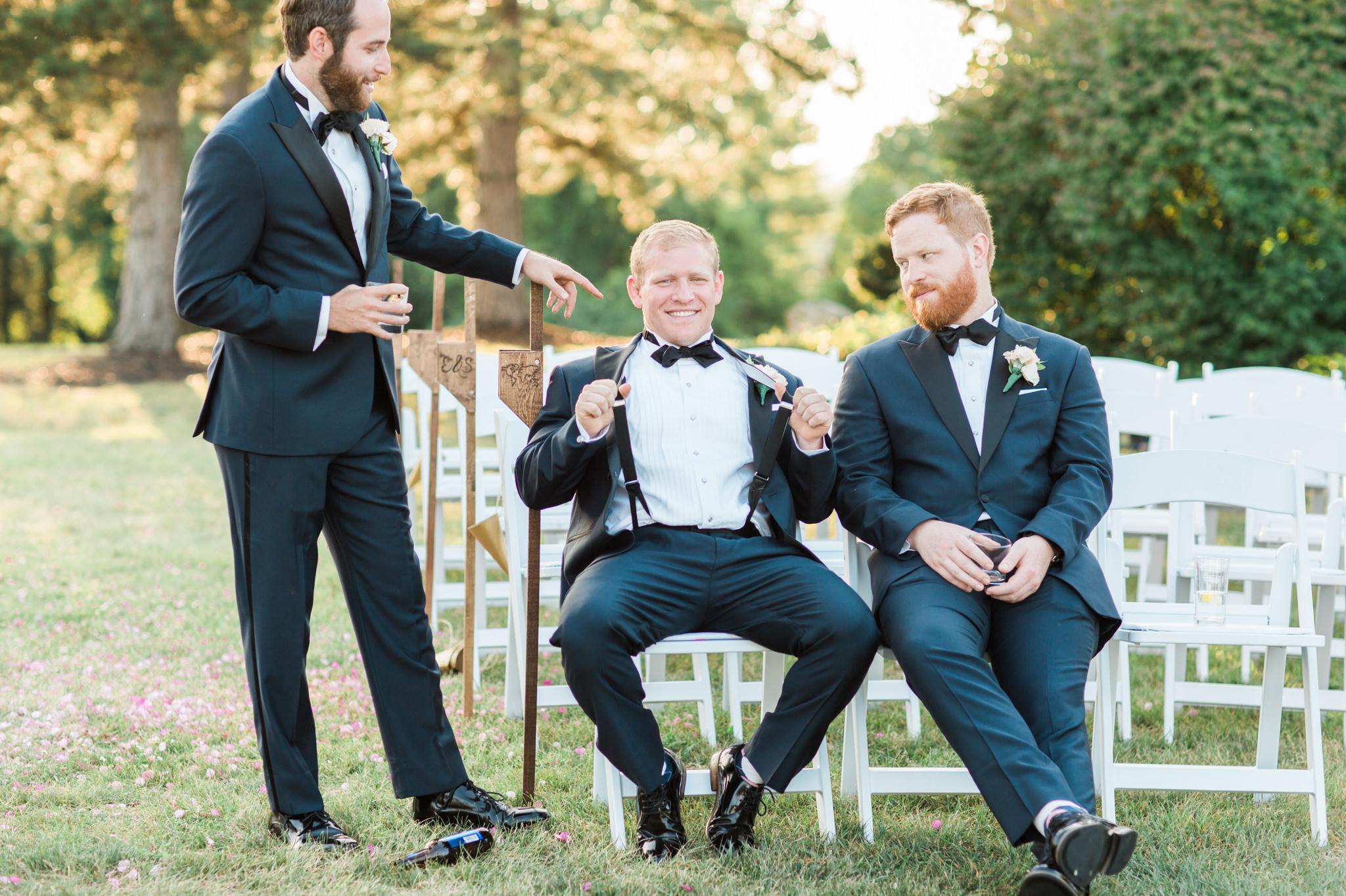 The Little Turtle Club Wedding Groomsmen relaxing