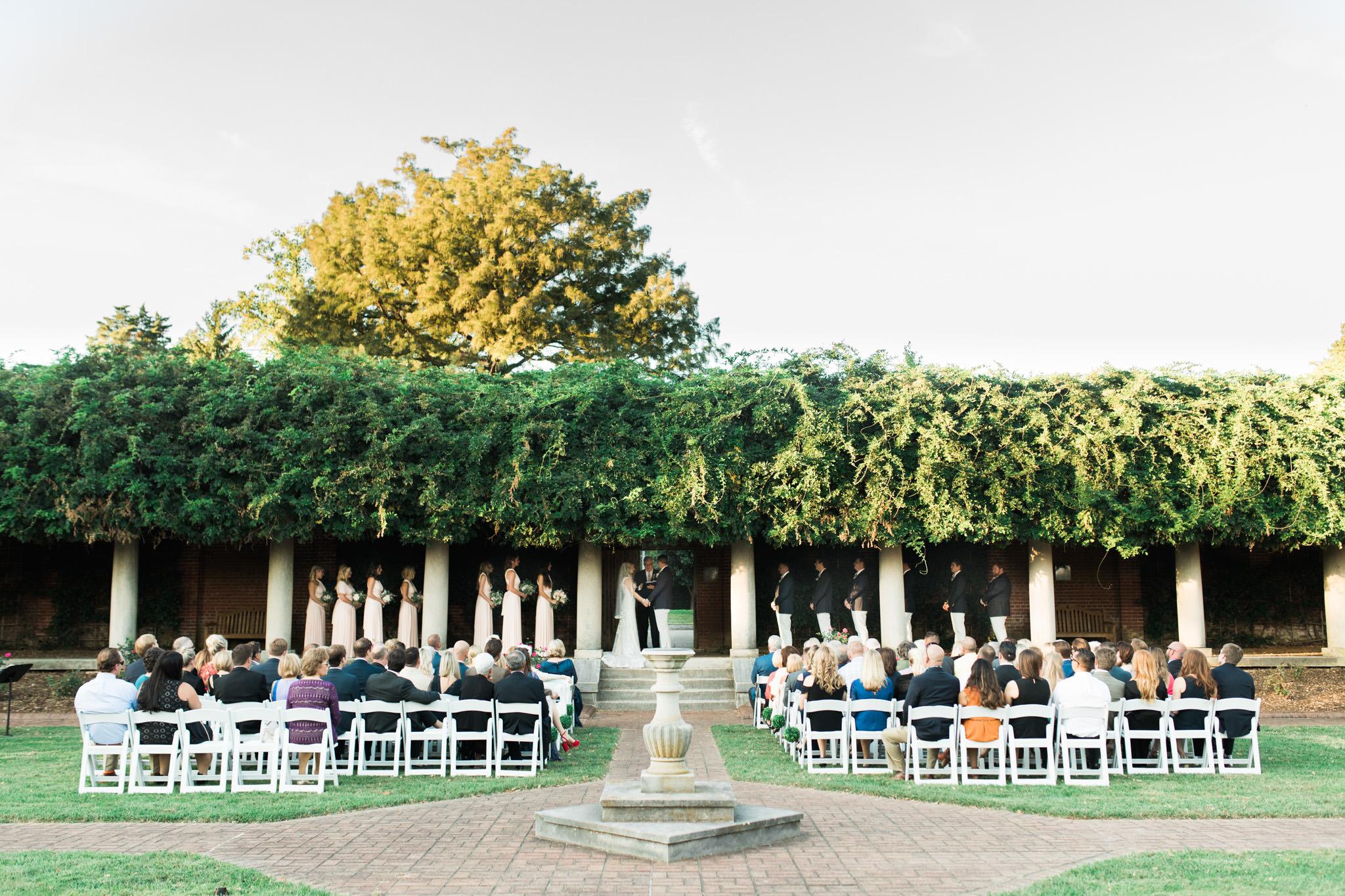 Outdoor wedding ceremony at Gardencourt Louisville