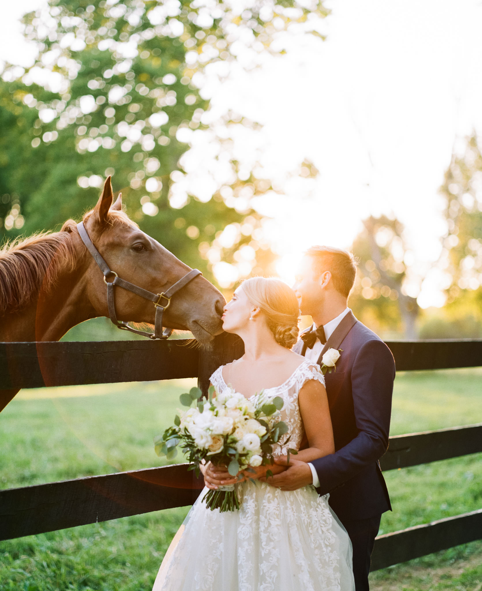 Portra 800 Example: Sunset image from Jon & Emily's  Polo Barn Wedding in Lexington Ky  taken with Pentax 67 and Portra 800 rated at 640 ISO