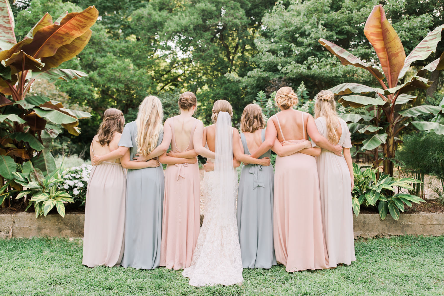 Summer Yew Dell Wedding photo of bridesmaids back of dresses